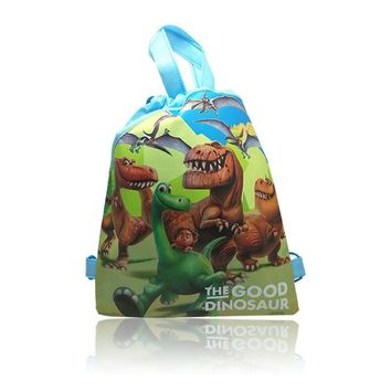 Perfect 4Pcs The Good Dinosaur Cartoon Drawstring Backpack Non-woven fabrics Kids Party Gift,Shopping Bags