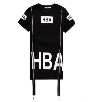 New Hip Hop Shirt Men Women Tshirts Streetwear Camisetas HBA Hood By Air Side Zipper T-Shirt HBA Clothes Been Trill Kanye Tyga Shirt
