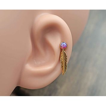Purple Opal 16 Gauge Rose Gold Cartilage Earring Tragus Monroe Helix Piercing
