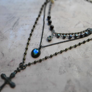 Bohemian assemblage statement labradorite necklace / cross, Swarovski crystal chain, freshwater pearl, garnet, oxidized brass, clear glass
