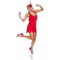 Delicious Womens Red Lindy & Lace Halloween Party Flapper Costume