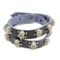 Top Value Jewelry - Mens Black Leather Biker Bracelet with Vintage Silver Plated Skull and Cross Bones - Like Love Buy