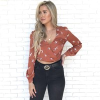 Flock Together Blouse In Rust