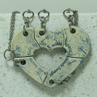 Friendship jewelry Heart puzzle pendants set of 5 Side By Side quote Blue