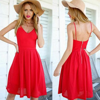 Hot Red Strap Vest Dress