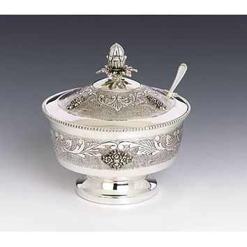 Silver Honey Dish - Ornate with Spoon