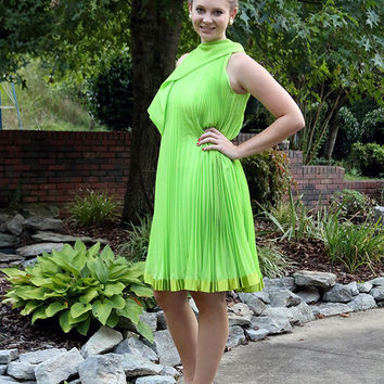 70s Mod Trapeze Dress, Lime Green, Silk Chiffon Accordion Pleats