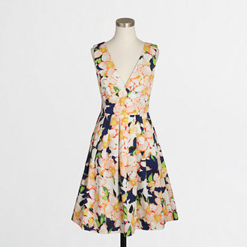 FACTORY SATEEN V-NECK DRESS IN FLORAL