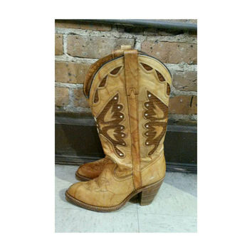 Vintage Miss Capezio Butterfly Cowboy Boots- leather inlay 70s western boot 7.5