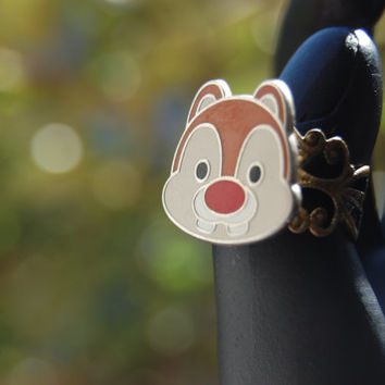 Dale The Chipmunk Disney Chip and Disney Upcycled Pin Ring