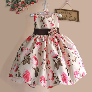 Girls Summer Dress Rose Floral Tribute Silk Kids Dresses for Girls Birthday Party Size 1-6T  vestidos infantis