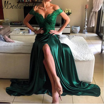 2016 Bright Girls Open Side Long Lace Vestido De Festa Prom Dresses Satin Emerald Green Graduation Maxi Dress Applique Gown