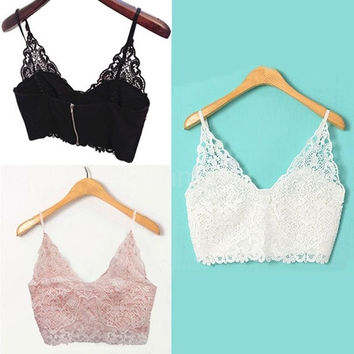 New Sexy Women Lace Tops Crochet Deep V Neck Spaghetti Strap Camisole Fashion Tank Top Bralet G0908|26201 = 5658143745