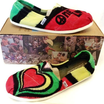 One Love Bob Marley Rasta Tie-dye TOMS Shoes, Custom Women's