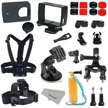FeoconT Accessories Kit  Silicon Protective Cover+ Frame Mount Housing+ Head Strap+ Chest Harness+ Car Suction Cup For Xiaomi Yi