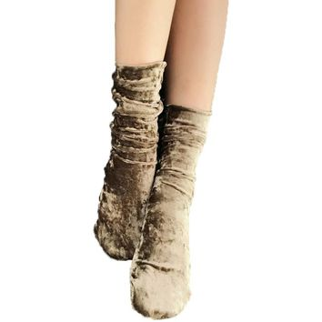Winter New Warm Women Socks New Year Christmas Socks Creative Fashion Gold Velvet Elastic Knee-socks Christmas Gifts