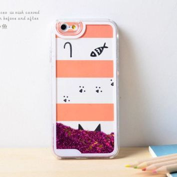CREYEJ6 Cat Fish Dynamic Liquid Hot Pink Glitter Sand Quicksand Bling Clear iPhone 6 Plus case Retro flower Phone Case