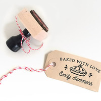 Custom Baked with Love Rubber Stamp with a cute cake and your name