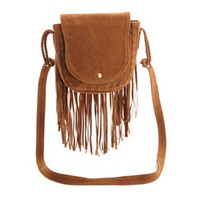 FAUX SUEDE FRINGE SADDLE BAG