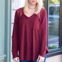 Stone Wash Contrasting Lace Long Sleeve {Burgundy}