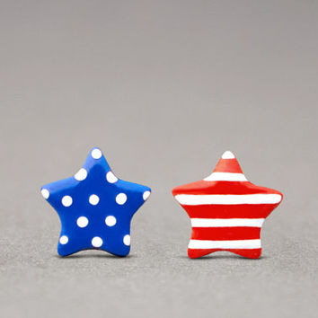Stars & Stripes Earrings - Fourth Of July, Patriotic Jewelry, American Flag