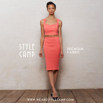 PREMIUM FABRIC Kirsten Two Piece Bralet and Pencil Skirt Set in Coral Pink