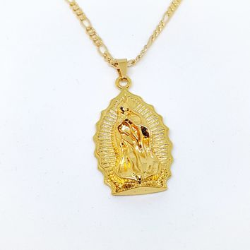 "1-2416-1957-f11 18kt Brazilian Gold Layered Guadalupe Chain Necklace. Pendant 2 inches long. 24"" Figaro Chain, 3.5mm."