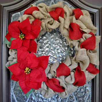 Christmas Wreath, Burlap wreath, holiday wreath, personalized wreath, pointsettia wreath