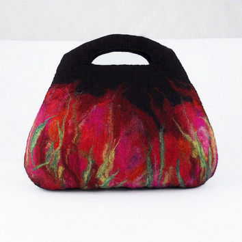 Black Felted Bag Felt Handbag Artistic Purse Red Nunofelt Bag Ruby Nuno felt Handbag fairy multicolor floral fantasy Fiber Art boho