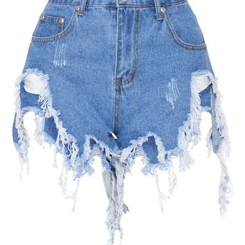 Light Blue Wash Extreme Thigh Rip Denim Short