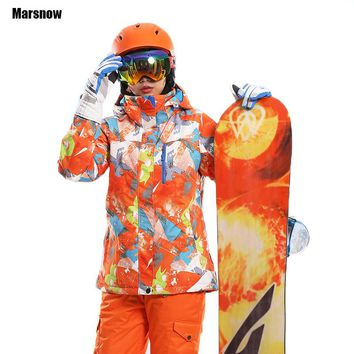Ski Jacket Thicken New 2018 print warm thermal waterproof windproof Hooded Outwear snow snowboard winter jacket for women