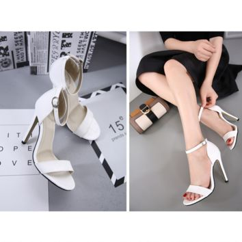 Summer Fashion Simple Buckle Band Sandals Women Heels Shoes