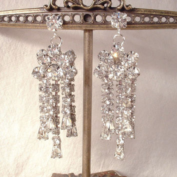 Vintage Art Deco Clear Rhinestone Long Drop Silver Earrings, 1920s Crystal Bridal Dangle Chandelier Statement Jewelry, Runway Hollywood Glam