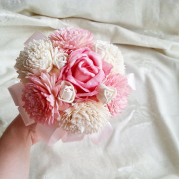 SMALL sola flowers wedding bridesmaid bouquet flower girl wand pink ivory creme satin Handle rose zinnia toss bouquet