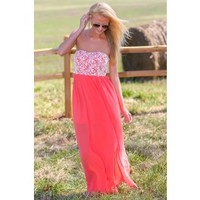 Beautiful Bouquet Maxi Dress-Coral