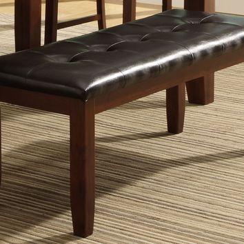 Wood based Leather Tufted Bench - Dark Brown