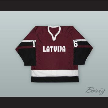 Sergei Zholtok 16 Latvia National Team Maroon Hockey Jersey