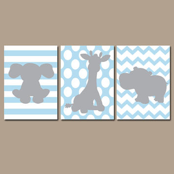 Baby Boy Nursery Wall Art Prints Safari Animal Nursery Elephant Wall Art Boy Art Boy Bedroom Wall Art Prints Elephant Giraffe Hippo Set of 3