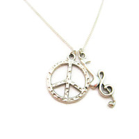 Music Notes Necklace Peace Sign Necklace Peace Necklace Peace Sign Jewelry Peace Jewelry  Necklace Music Jewelry  Music Necklace