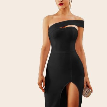 Adyce Solid One Shoulder Split Thigh Pencil Dress