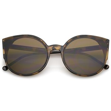 Retro Modern Slim Profile Flat Lens Cat Eye Sunglasses A941