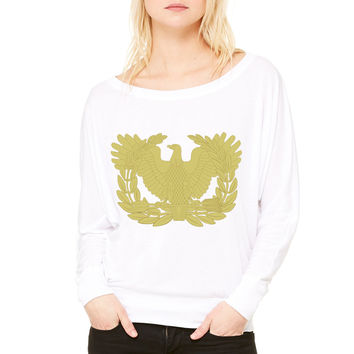 Walk Up To The Club Like What Up I Have Social WOMEN'S FLOWY LONG SLEEVE OFF SHOULDER TEE