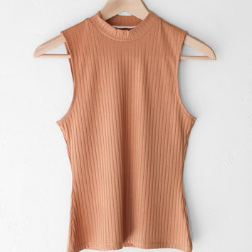 Mock Neck Top - Peach