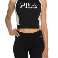 The Liana Crop Tank in Black, Rosa Bella, White and Skyway