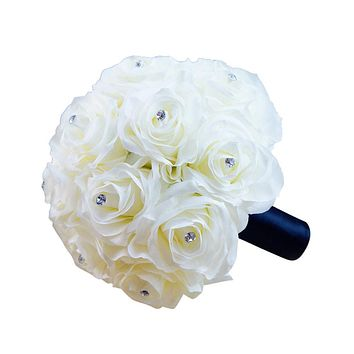 Bouquet- Cream/Ivory Handcrafted Silk Roses with Silver Rhinestones