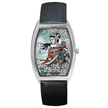 Traditional Oriental/ Asian Lady Apple Blossoms on Watch with Leather Band