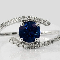 Sapphire Ring, Sapphire Diamond Ring, Engagement Ring, 14K White Gold, Twist Design