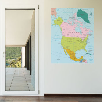Map of North America wall decal