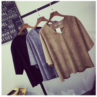 Loose V-Neck Batwing  Sleeve Suede Blouse