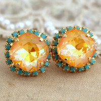 Ultra Yellow Turquoise stud earrings swarovski earrings, gold turquoise rhinestone earrings, bridesmaids gifts - 14 K gold Crystal studs